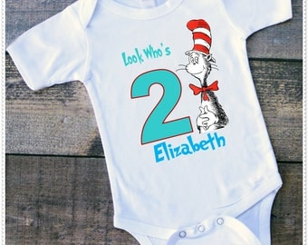 Dr Seuss Birthday Bodysuit size 6-24 Month; Tee Size 2T and Up; FREE Personalization; Any Age