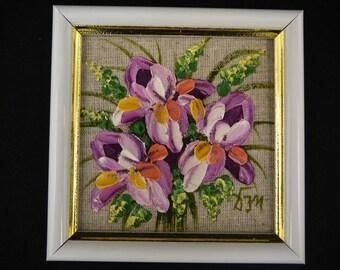 Russian oil painting, 10x10cm, original palette knife painting. Floral oil painting from Russia.