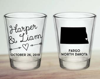 Custom North Dakota Wedding Favor Shot Glasses
