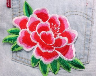 Ao/Peony/pink/red/free shipping iron on embroidery patch/flower