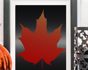 NEW Maple Leaf Print, Maple Leaves, Printable Art, Leaf Prints, Fall Leaf, Fall Leaves, Orange Leaf, Leaf Printables, Canadian Leaf