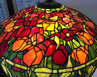 Tulip flower width 22inch stained glass tiffany style bronze base floor lamp