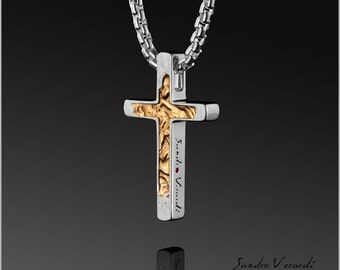 Stylish cross pendant by SANDRO VACA in 925 Silver - Gold pl. / N031-SG-R