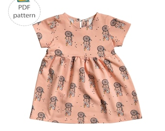 Baby dress sewing pattern, girl's dress pattern, toddler dress pdf, digital sewing patten, summer dress pattern, half sleeve dress