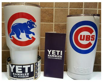 YETI - Authentic Chicago CUBS Yeti Cup Mug 20 oz or 30 oz Rambler Tumbler Cubbies Painted Custom unique fan Gift idea walking cub present