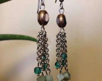 Blue Rock Dangle Earrings