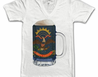 Ladies North Dakota State Flag Beer Mug Tee, Home Tee, State Pride, State Flag, Beer Tee, Beer T-Shirt, Beer Thinkers, Beer Lovers Tee