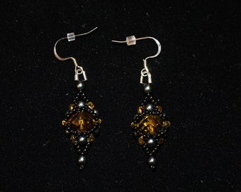 "Beaded Hematite and Citrine ""halo""  earrings"
