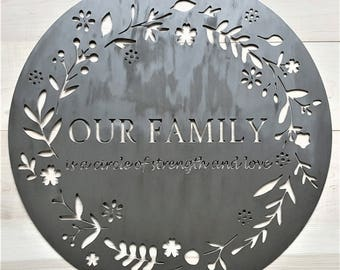 Iron Anniversary Gift, Family Quote Sign, Circle of Strength and Love, Rustic Wedding Decor, Sixth Wedding Anniversary,Outdoor Metal Quotes