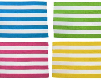 Personalized or monogrammed large striped Beach towel  Cabana Towel