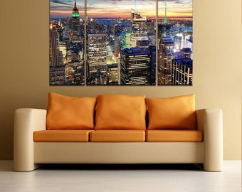 COLORFUL CITY NIGHT- split framed canvas print