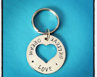Heart Keyring - Hand Stamped