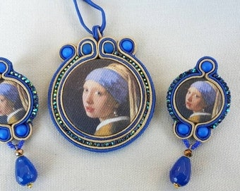 Parure necklace + earrings girl with a Pearl Earring
