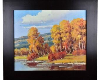 "Impressionism, Large Original Hand Painted Landscape Art, ""Fall At Lakeside"" 25 x 30"