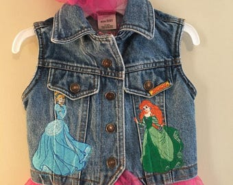 Toddler Denim Princess Embroidered Vest With Tutu