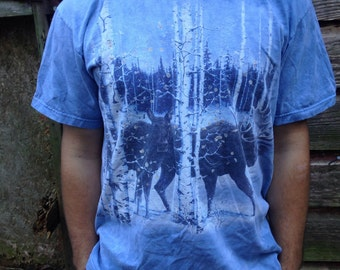 Winter Forest Wandering Moose T Shirt