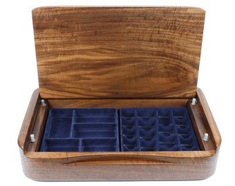 Walnut Jewelry Box - Modern Handmade Walnut Wooden Jewelry Storage Case With Soft Close Lid -  Limited Edition Number 2 of 6