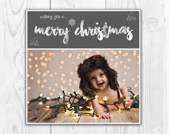 Printable Christmas Card Template | Editable Christmas Photo Card | Photoshop template PSD | INSTANT DOWNLOAD
