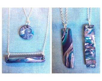 Polymer marble on sterling silver necklace