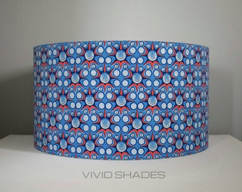 Geometric fabric lampshade 40cm, 45cm handmade by vivid shades, modern retro stylish funky super hero style pattern custom made drum shade