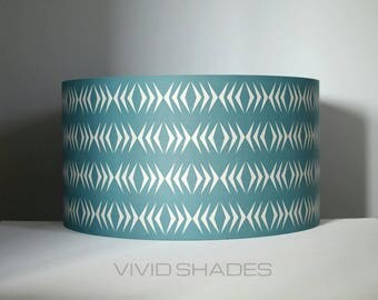 Geometric lampshade funky retro fabric handmade by vivid shades, modern retro stylish scandi graphic chevron custom made 40cm or 45cm teal