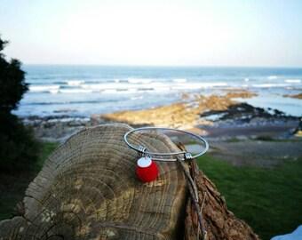 Bracelet titanium rings with ball yarn yarn Pompom for skin sensitive hypoallergenic