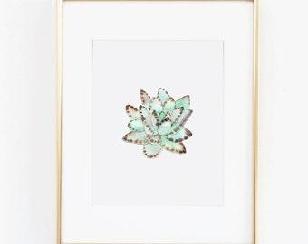 Watercolor Print - Succulent Floral Digital Download Print