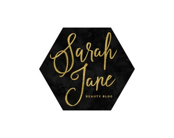 Hexagon Logo / Geometric Logo / Photography Logo / Makeup Artist Logo / Gold Logo/ Gold Blog Logo / Blog Header / Event Planner Logo Design