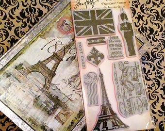 Tim Holtz Stampers Anonymous ~Euro Elements~ 9 PC. Cling Stamp Set
