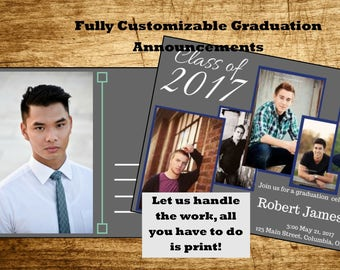 Custom Printable Multiple Picture Graduation Announcement, Graduation Invitation or Open House Invitation, Delivered in 24 Hours