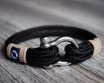 Men black bracelet, Black Sailor Bracelet, Black Nautical Bracelet, Black Bracelet For mens, Black Bracelet For men, Black Rope Bracelet,