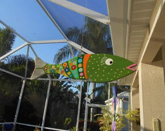 Far Out Fish Works ....Hanging Wind Fish ...Pea Green