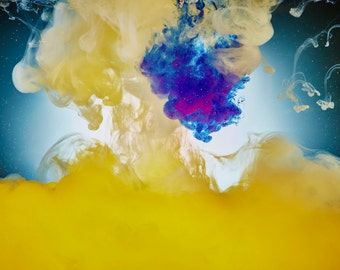 Yellow with Blue Liquid Study Print