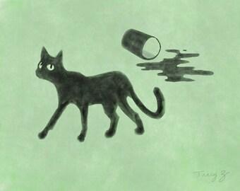 Large, giclee, print, 11x14, cat, black cat, Whut?