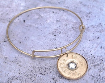 Diamonds & Brass Adjustable Bullet Bangle