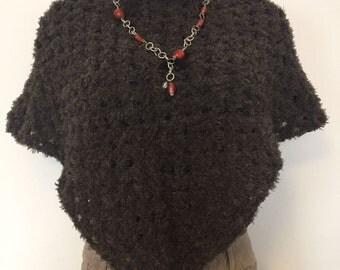 Chocolate crochet poncho