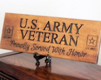 Army Veteran, Proudly Served With Honor Wood Plaque