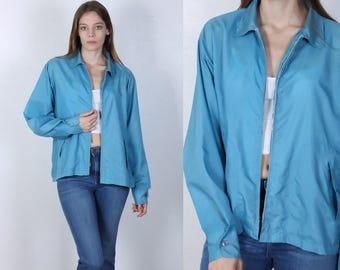 70s Windbreaker Vintage // Blue 1970s Jacket Plain - Large