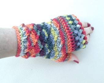 Multi-Coloured Fingerless Gloves from 100% Italian Merino Wool - A Mix of Crocheted and Knitted Patterns, Pretty Gift, Unique Gloves