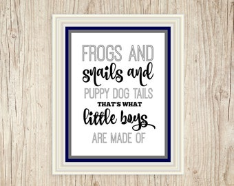 Frogs and Snails and Puppy Dog Tails that's what Little Boys Made Of Print, Boys Nursery Art, Printable Nursery Art, Instant Download