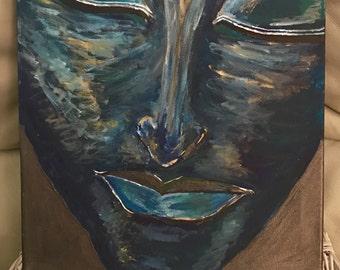 Buddha face with reiki symbol Halu
