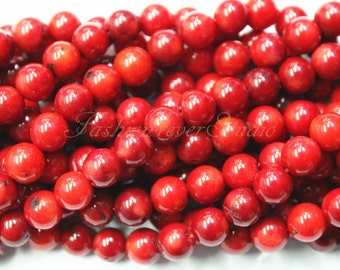 Red Coral Beads,4mm 6mm 8mm, Full Strand 15.5 inches, Gemstone Beads, Beading Suppliers, Jewelry Suppliers