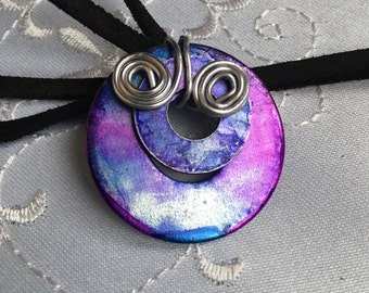Upcycled Purple and Blue Washer Pendant Necklace, Gift For Her-Made In Canada
