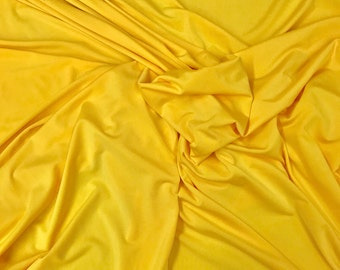 "Solid Yellow 4 Way Stretch Lycra/Spandex Fabric By The Yard 60"" Width"