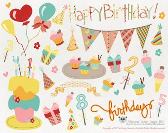Birthday 1 Party Greeting Vector Graphics, Clipart, PNG, Clip Art