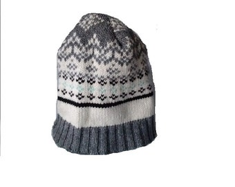 Gray and White Beanie Hat