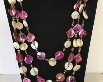 Unique Vintage Handmade Multi Strand Purples and Whites Beaded Necklace