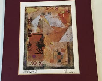 """Vintage hand signed, dated 1997 , """"Cubed Space 1"""" lithograph print, matted, unframed. By Dina Art"""