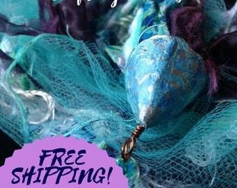 Blue and purple mermaid Boho fabric journaling OOAK gift book lovers charm embellishment