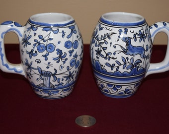 Vintage Blue and White Portuguese Pottery Cups